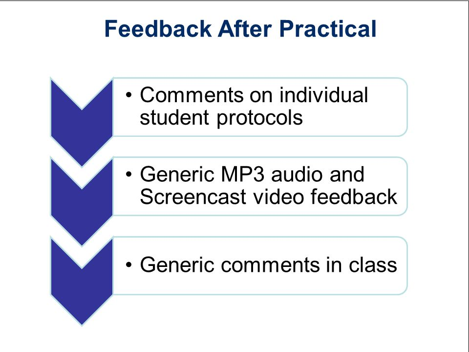 Feedback After Practical Comments on individual student protocols Generic MP3 audio and Screencast video feedback Generic comments in class