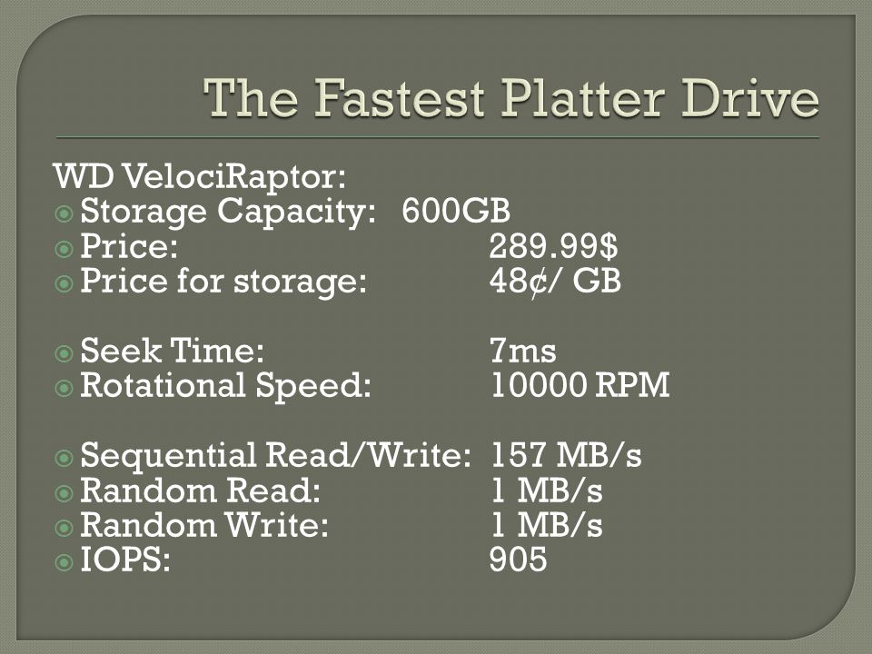  Storage Capacity: 60GB-240GB  Price:$209.99(120 GB)  Price for storage:1.74$/GB  Sequential Read:265.5 MB/s  Sequential Write:251.9 MB/s  Random Read:62 MB/s  Random Write:164.9 MB/s  IOps:50,000