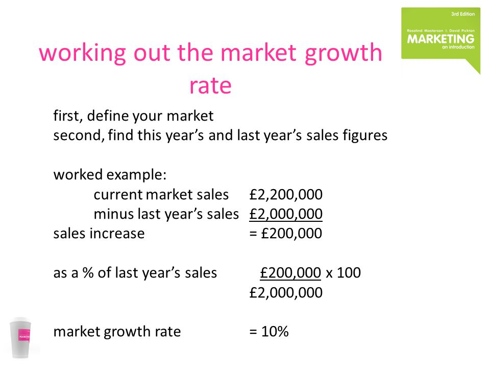 working out the market growth rate first, define your market second, find this year's and last year's sales figures worked example: current market sal
