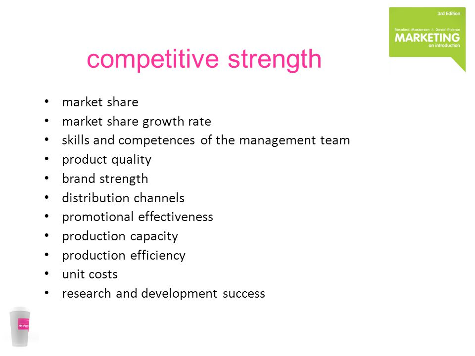 competitive strength market share market share growth rate skills and competences of the management team product quality brand strength distribution c