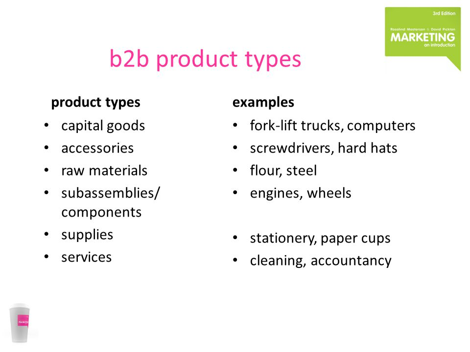 b2b product types product types capital goods accessories raw materials subassemblies/ components supplies services examples fork-lift trucks, compute