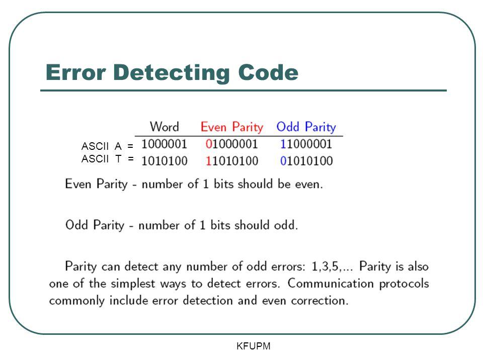Error Detecting Code ASCII A = ASCII T =