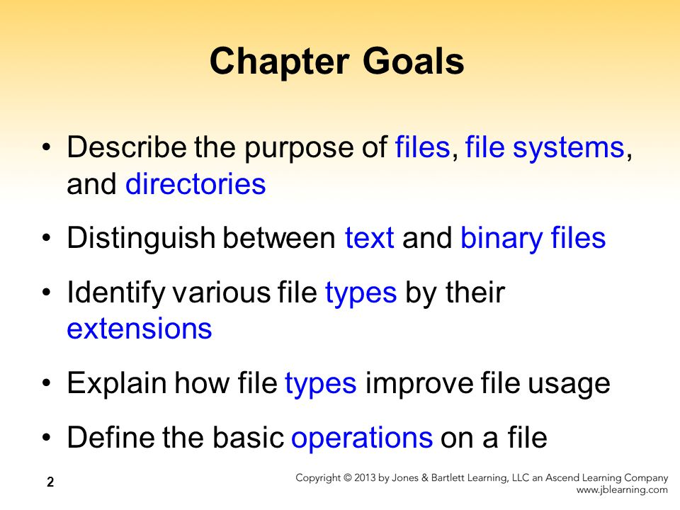 3 Chapter Goals Compare and contrast sequential and direct file access Discuss the issues related to file protection Describe a directory tree Create absolute and relative paths for a directory tree Describe several disk-scheduling algorithms