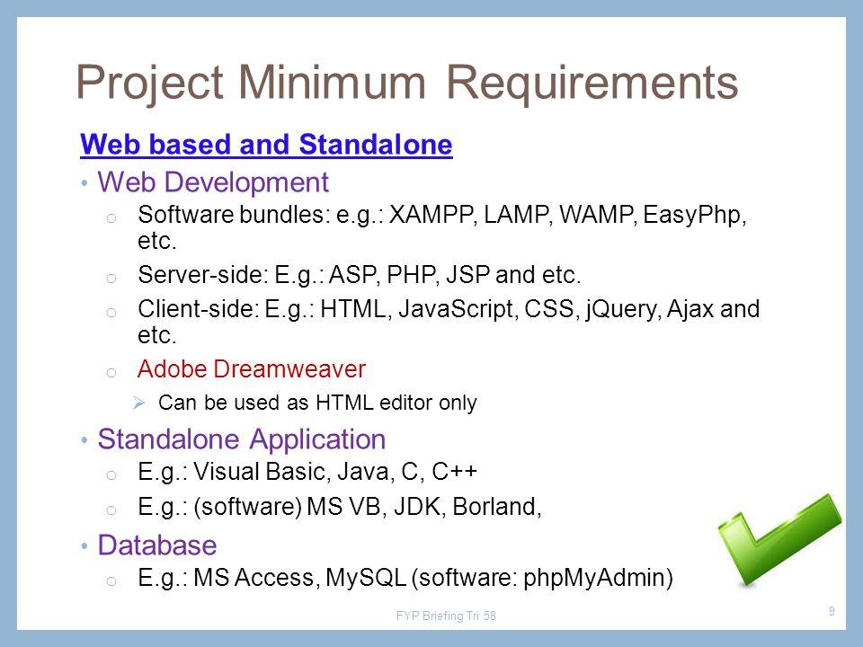 Web based and Standalone Web Development o Software bundles: e.g.: XAMPP, LAMP, WAMP, EasyPhp, etc. o Server-side: E.g.: ASP, PHP, JSP and etc. o Clie