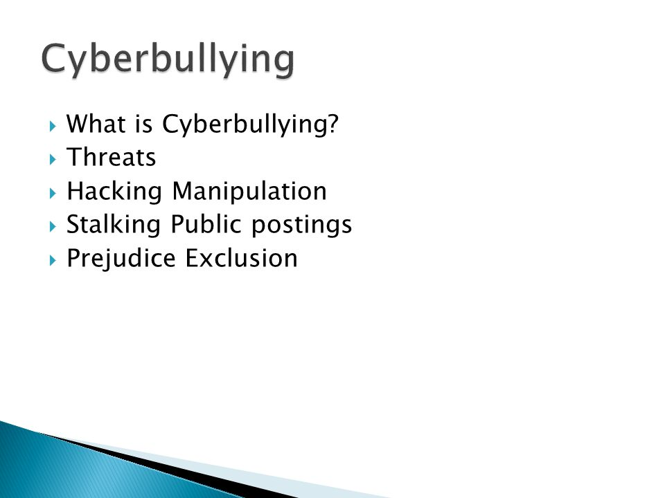  What is Cyberbullying.