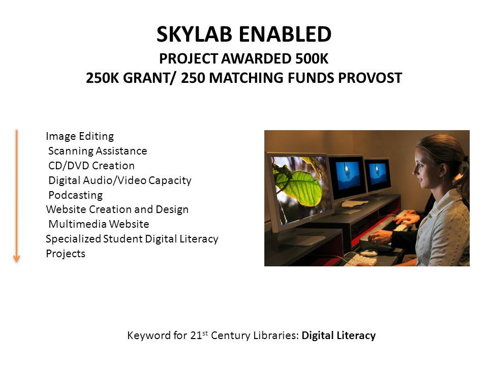 SKYLAB ENABLED PROJECT AWARDED 500K 250K GRANT/ 250 MATCHING FUNDS PROVOST Image Editing Scanning Assistance CD/DVD Creation Digital Audio/Video Capacity Podcasting Website Creation and Design Multimedia Website Specialized Student Digital Literacy Projects Keyword for 21 st Century Libraries: Digital Literacy