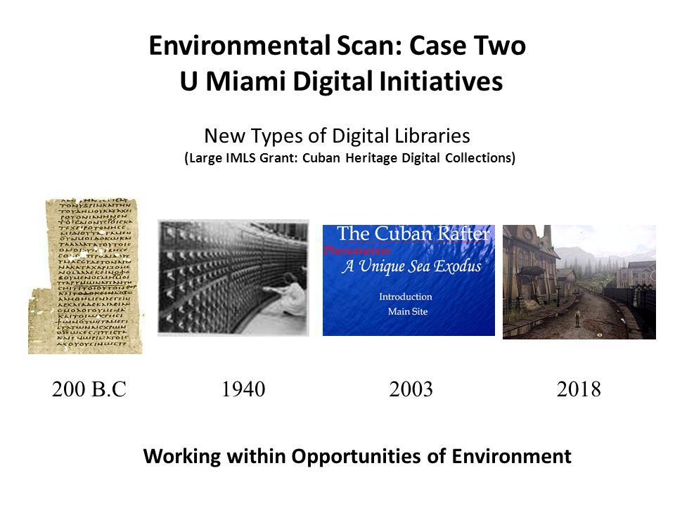 Environmental Scan: Case Two U Miami Digital Initiatives New Types of Digital Libraries (Large IMLS Grant: Cuban Heritage Digital Collections) Working within Opportunities of Environment 200 B.C194020032018