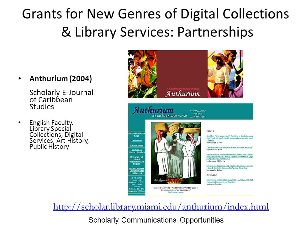 Grants for New Genres of Digital Collections & Library Services: Partnerships Anthurium (2004) Scholarly E-Journal of Caribbean Studies English Faculty, Library Special Collections, Digital Services, Art History, Public History http://scholar.library.miami.edu/anthurium/index.html Scholarly Communications Opportunities