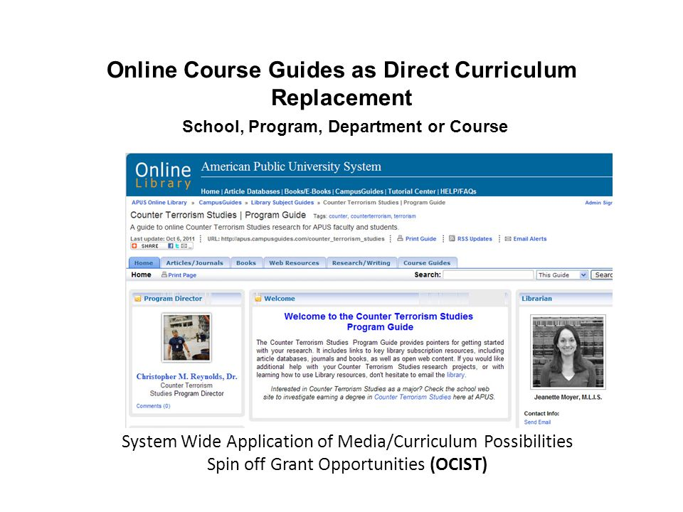 System Wide Application of Media/Curriculum Possibilities Spin off Grant Opportunities (OCIST) Online Course Guides as Direct Curriculum Replacement School, Program, Department or Course