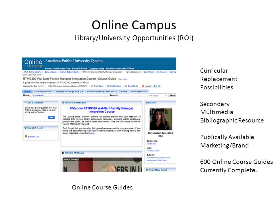 Online Campus Library/University Opportunities (ROI) Curricular Replacement Possibilities Secondary Multimedia Bibliographic Resource Publically Available Marketing/Brand 600 Online Course Guides Currently Complete.
