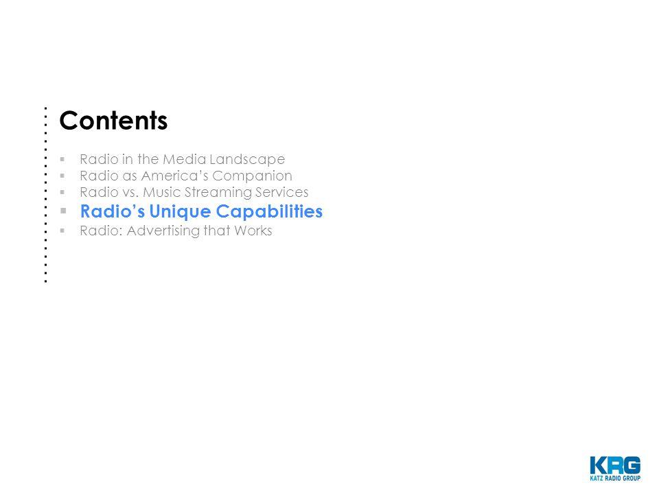 Contents  Radio in the Media Landscape  Radio as America's Companion  Radio vs.