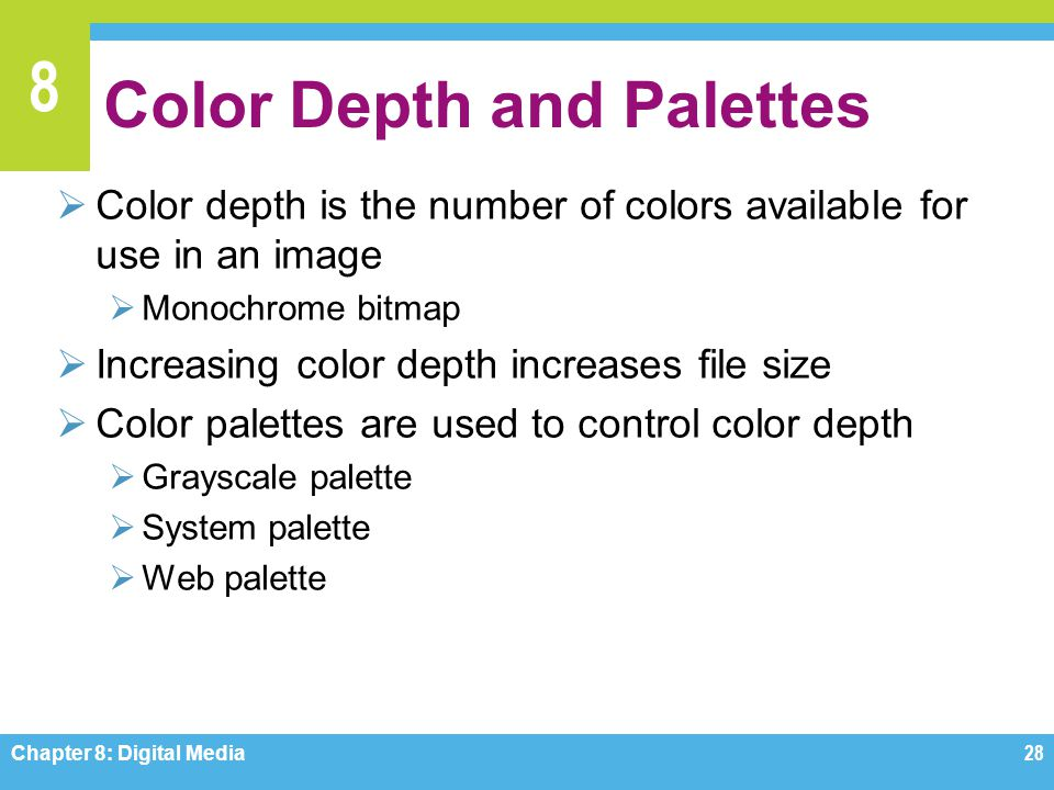 8 Color Depth and Palettes  Color depth is the number of colors available for use in an image  Monochrome bitmap  Increasing color depth increases