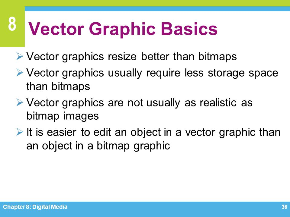 8 Vector Graphic Basics  Vector graphics resize better than bitmaps  Vector graphics usually require less storage space than bitmaps  Vector graphi