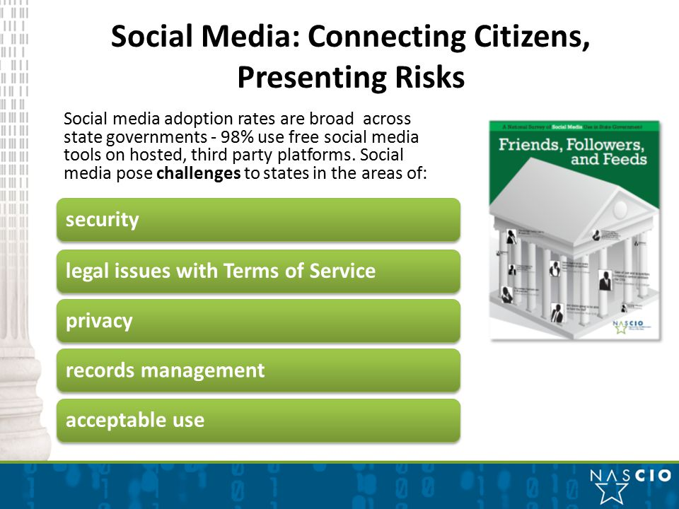 Social Media: Connecting Citizens, Presenting Risks securitylegal issues with Terms of Serviceprivacyrecords managementacceptable use Social media adoption rates are broad across state governments - 98% use free social media tools on hosted, third party platforms.