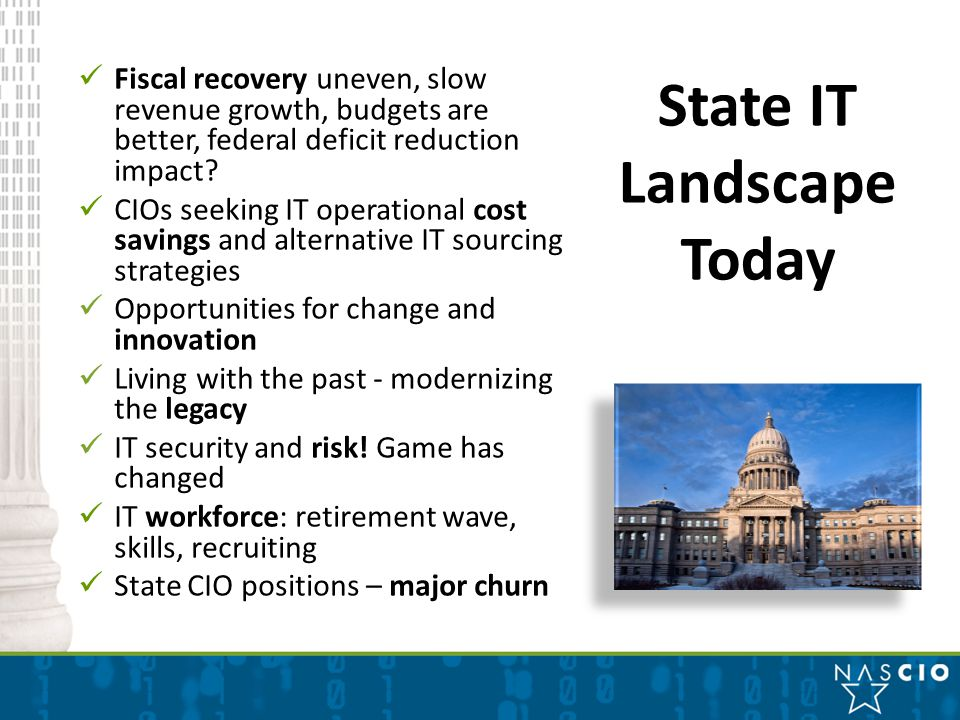 Fiscal recovery uneven, slow revenue growth, budgets are better, federal deficit reduction impact.