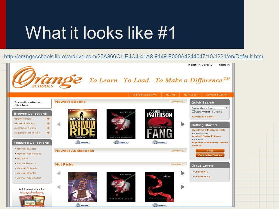 What it looks like #1 http://orangeschools.lib.overdrive.com/23A866C1-E4C4-41A8-9149-F000A4244047/10/1221/en/Default.htm