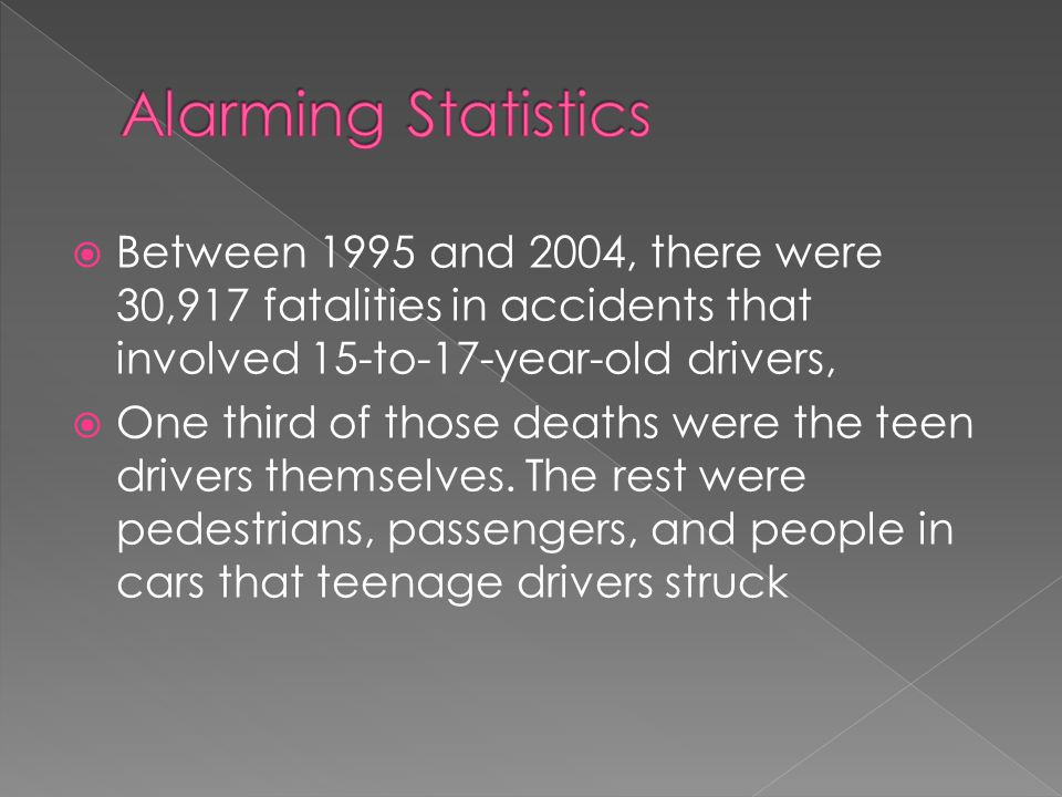  Between 1995 and 2004, there were 30,917 fatalities in accidents that involved 15-to-17-year-old drivers,  One third of those deaths were the teen drivers themselves.