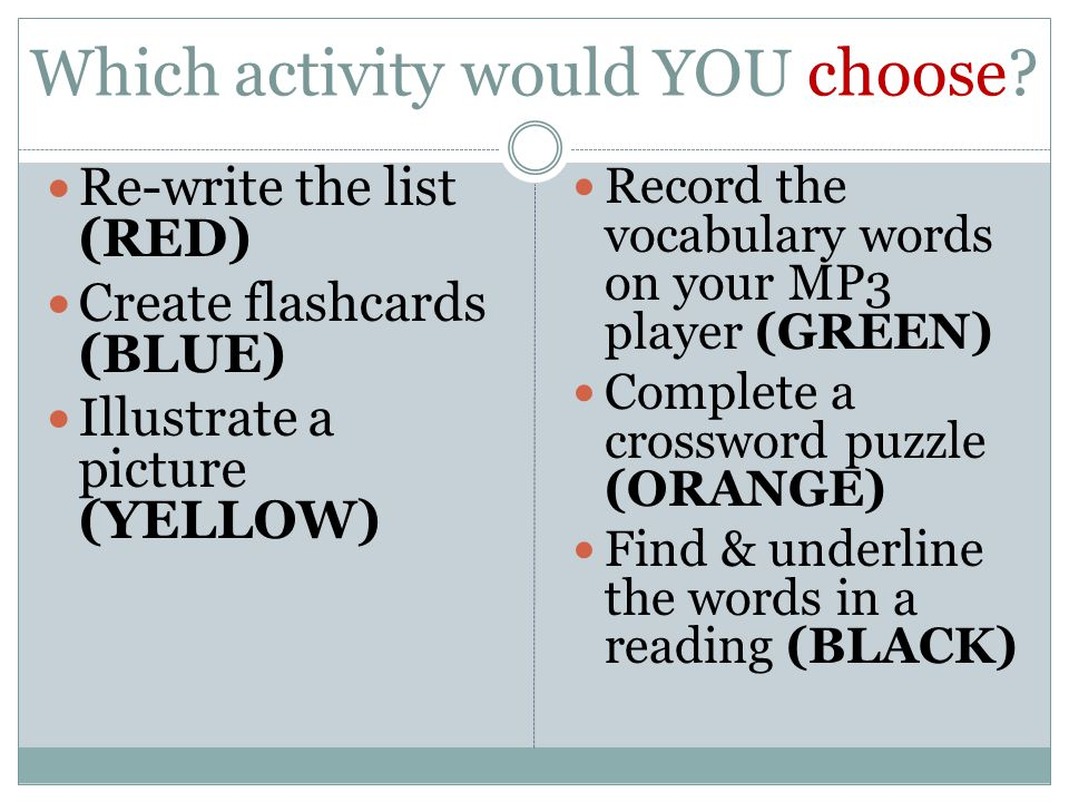 Which activity would YOU choose.