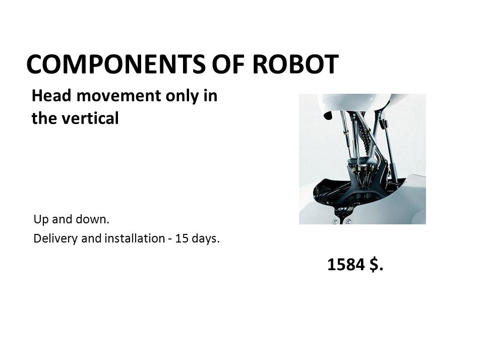 COMPONENTS OF ROBOT Up and down. Delivery and installation - 15 days. 1584 $. Head movement only in the vertical