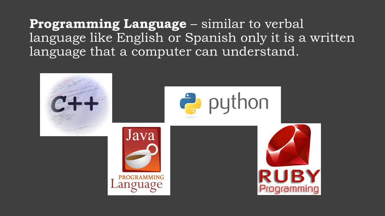 Programming Language – similar to verbal language like English or Spanish only it is a written language that a computer can understand.