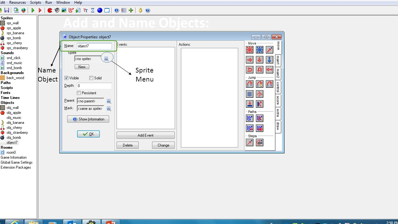Add and Name Objects: Name Object Sprite Menu