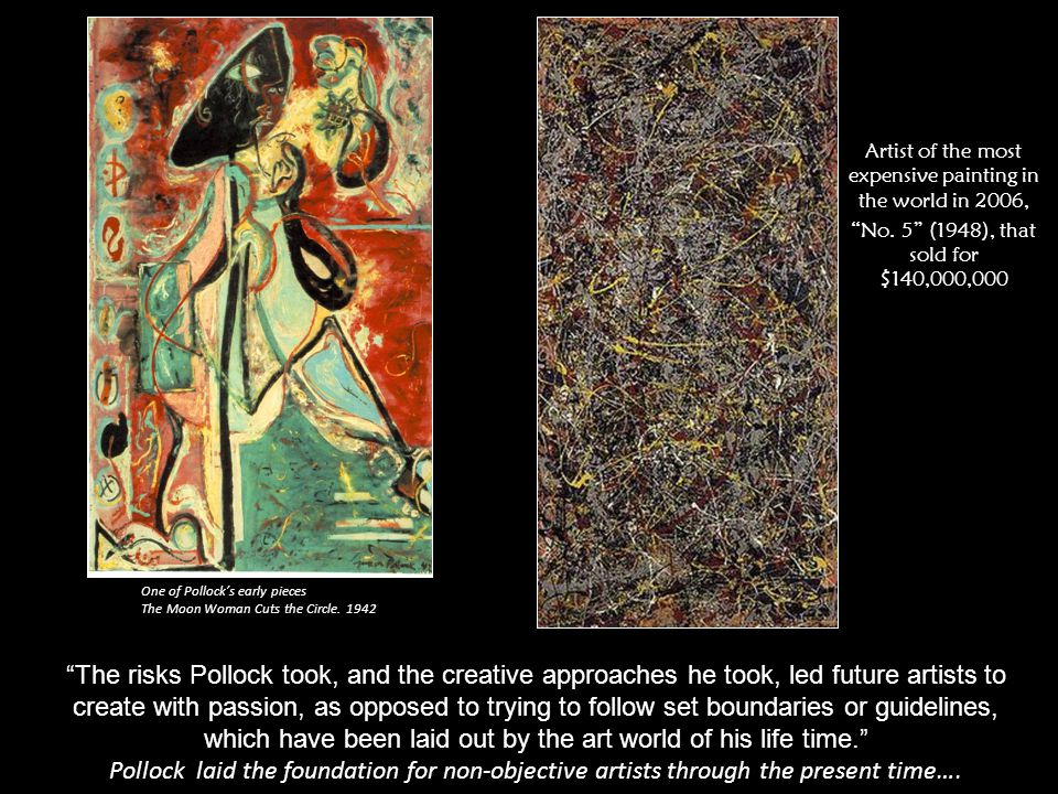 """One of Pollock's early pieces The Moon Woman Cuts the Circle. 1942 """"The risks Pollock took, and the creative approaches he took, led future artists to"""