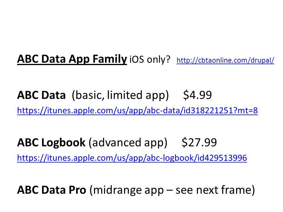 ABC Data App Family iOS only.