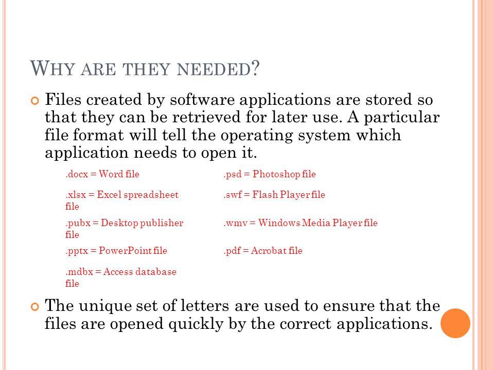 S TRUCTURE Each file format follows a certain structure..pptx.docx.pub.avi.wmv.jpg.