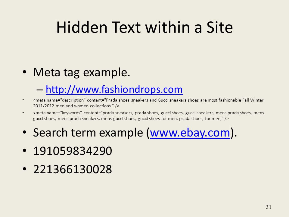 31 Hidden Text within a Site Meta tag example.