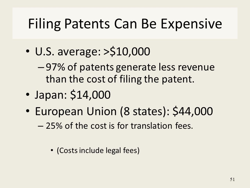 51 U.S. average: >$10,000 – 97% of patents generate less revenue than the cost of filing the patent. Japan: $14,000 European Union (8 states): $44,000