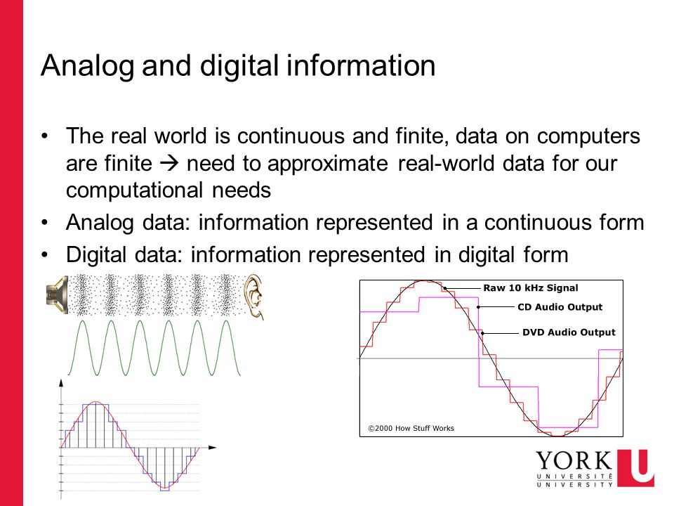 Analog and digital information The real world is continuous and finite, data on computers are finite  need to approximate real-world data for our computational needs Analog data: information represented in a continuous form Digital data: information represented in digital form