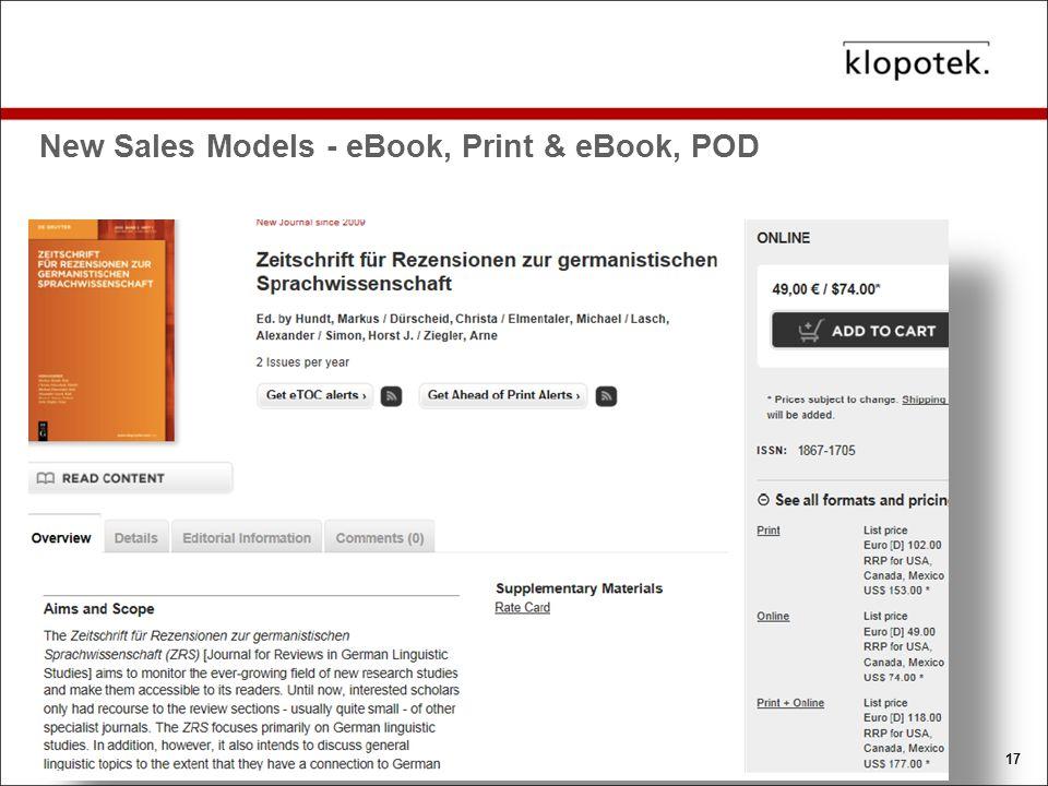 New Sales Models - eBook, Print & eBook, POD 17