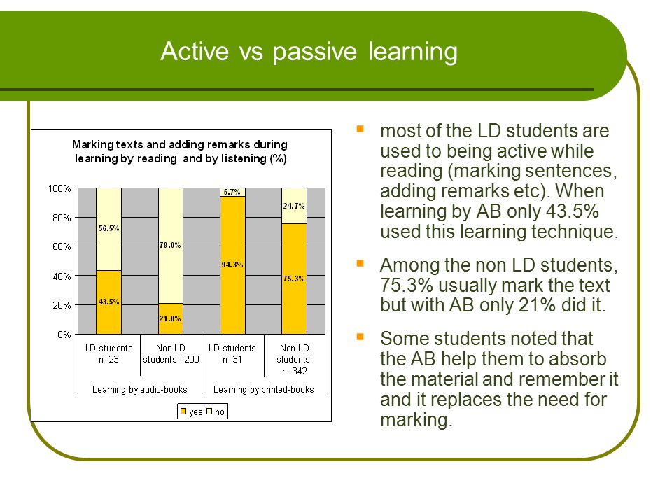 Active vs passive learning  most of the LD students are used to being active while reading (marking sentences, adding remarks etc). When learning by