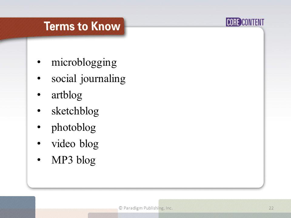 microblogging social journaling artblog sketchblog photoblog video blog MP3 blog © Paradigm Publishing, Inc. Terms to Know 22
