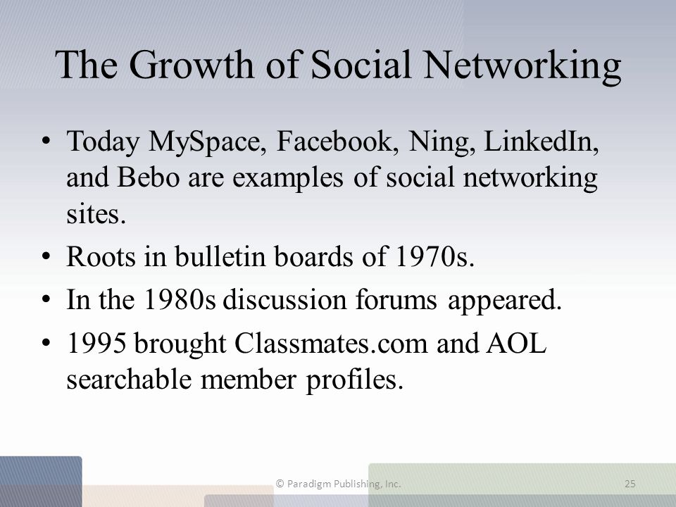 The Growth of Social Networking Today MySpace, Facebook, Ning, LinkedIn, and Bebo are examples of social networking sites. Roots in bulletin boards of
