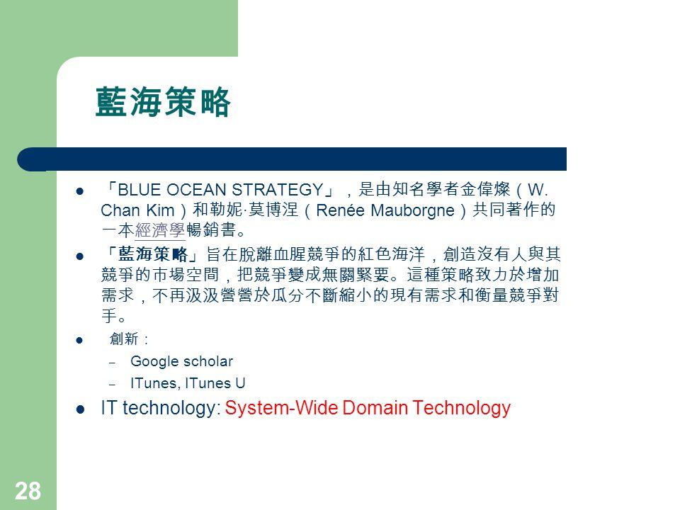 藍海策略 「 BLUE OCEAN STRATEGY 」,是由知名學者金偉燦( W. Chan Kim )和勒妮 · 莫博涅( Renée Mauborgne )共同著作的 一本經濟學暢銷書。經濟學 「藍海策略」旨在脫離血腥競爭的紅色海洋,創造沒有人與其 競爭的市場空間,把競爭變成無關緊要。這種策略