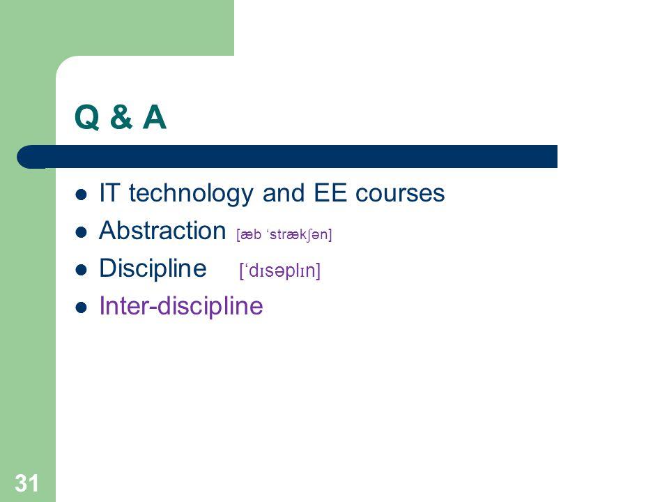 Q & A IT technology and EE courses Abstraction [æb 'stræk ʃ ən] Discipline ['d ɪ səpl ɪ n] Inter-discipline 31