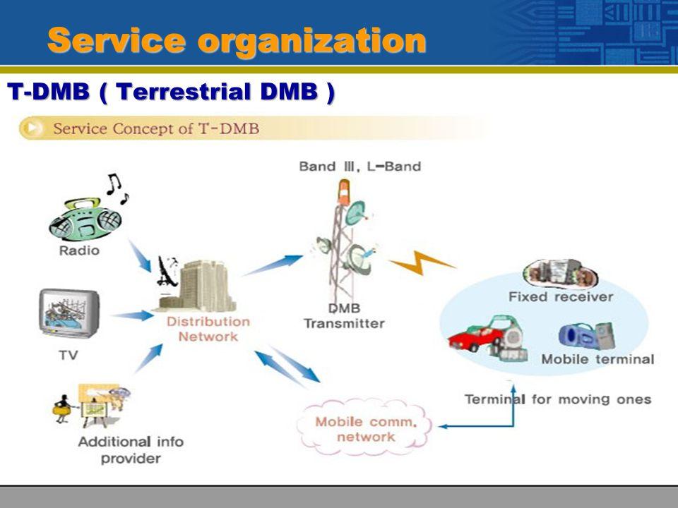 Service organization T-DMB ( Terrestrial DMB )