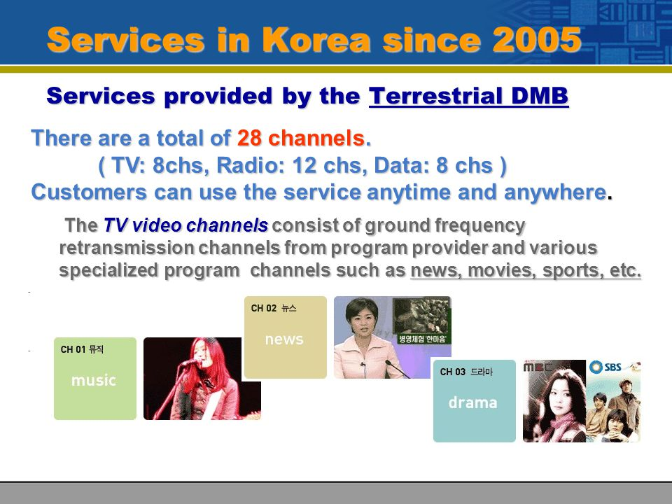 Services in Korea since 2005 Services provided by the Terrestrial DMB There are a total of 28 channels.