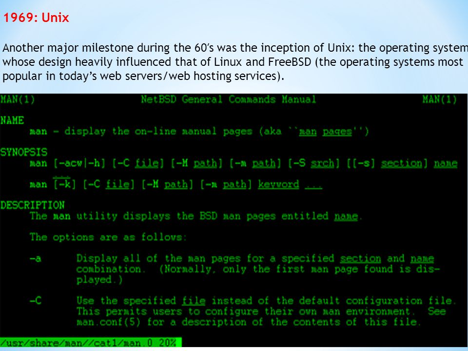1969: Unix Another major milestone during the 60′s was the inception of Unix: the operating system whose design heavily influenced that of Linux and F