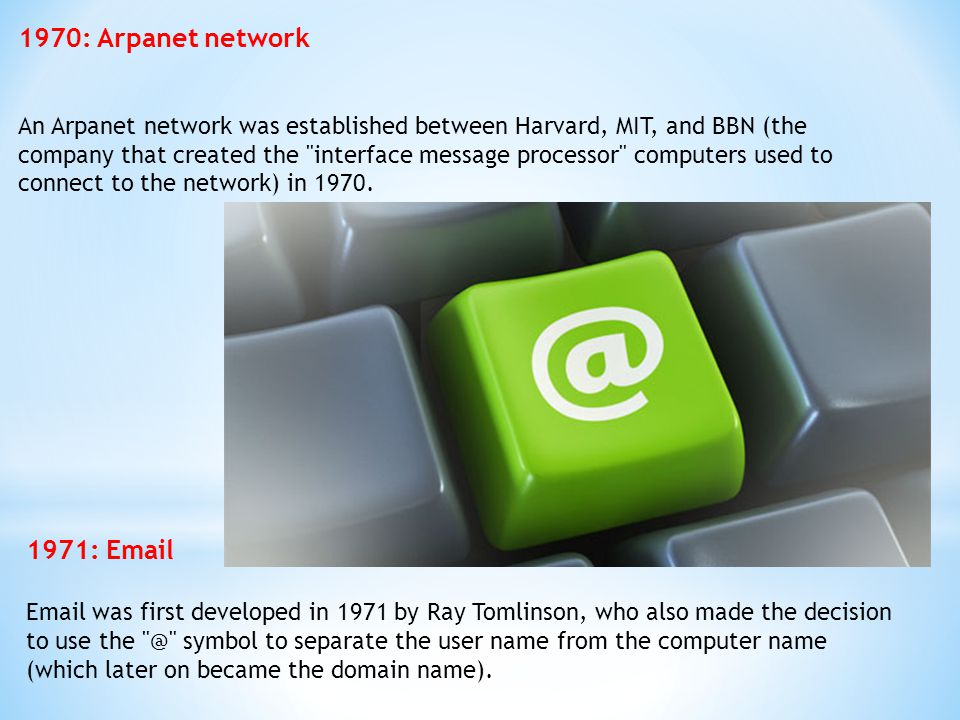 1970: Arpanet network An Arpanet network was established between Harvard, MIT, and BBN (the company that created the