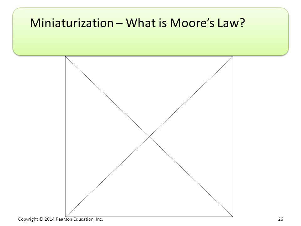 Copyright © 2014 Pearson Education, Inc. 26 Miniaturization – What is Moore's Law