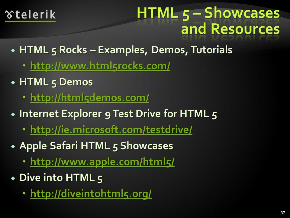  HTML 5 Rocks – Examples, Demos, Tutorials  http://www.html5rocks.com/ http://www.html5rocks.com/  HTML 5 Demos  http://html5demos.com/ http://html5demos.com/  Internet Explorer 9 Test Drive for HTML 5  http://ie.microsoft.com/testdrive/ http://ie.microsoft.com/testdrive/  Apple Safari HTML 5 Showcases  http://www.apple.com/html5/ http://www.apple.com/html5/  Dive into HTML 5  http://diveintohtml5.org/ http://diveintohtml5.org/ 37