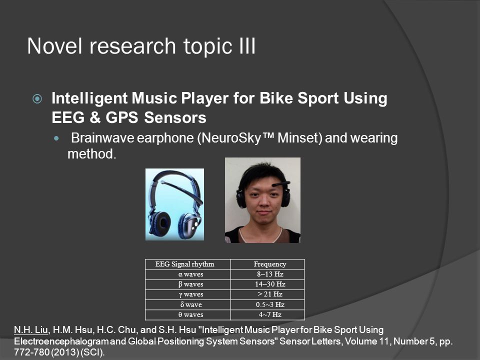 Novel research topic III  Intelligent Music Player for Bike Sport Using EEG & GPS Sensors Brainwave earphone (NeuroSky™ Minset) and wearing method.