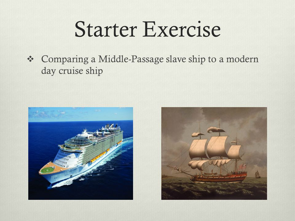 Starter Exercise  Comparing a Middle-Passage slave ship to a modern day cruise ship