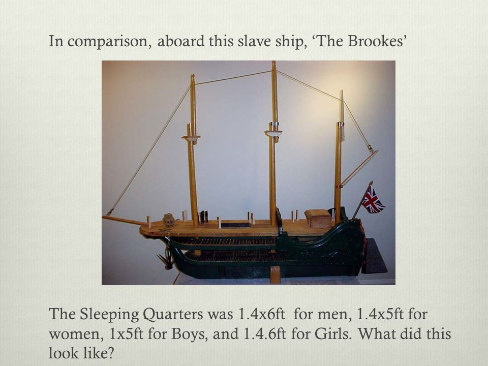 In comparison, aboard this slave ship, 'The Brookes' The Sleeping Quarters was 1.4x6ft for men, 1.4x5ft for women, 1x5ft for Boys, and 1.4.6ft for Gir