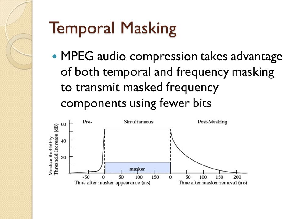 Temporal Masking MPEG audio compression takes advantage of both temporal and frequency masking to transmit masked frequency components using fewer bit