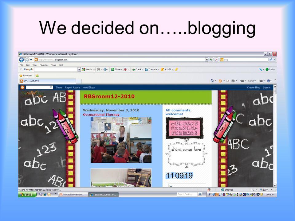 We decided on…..blogging