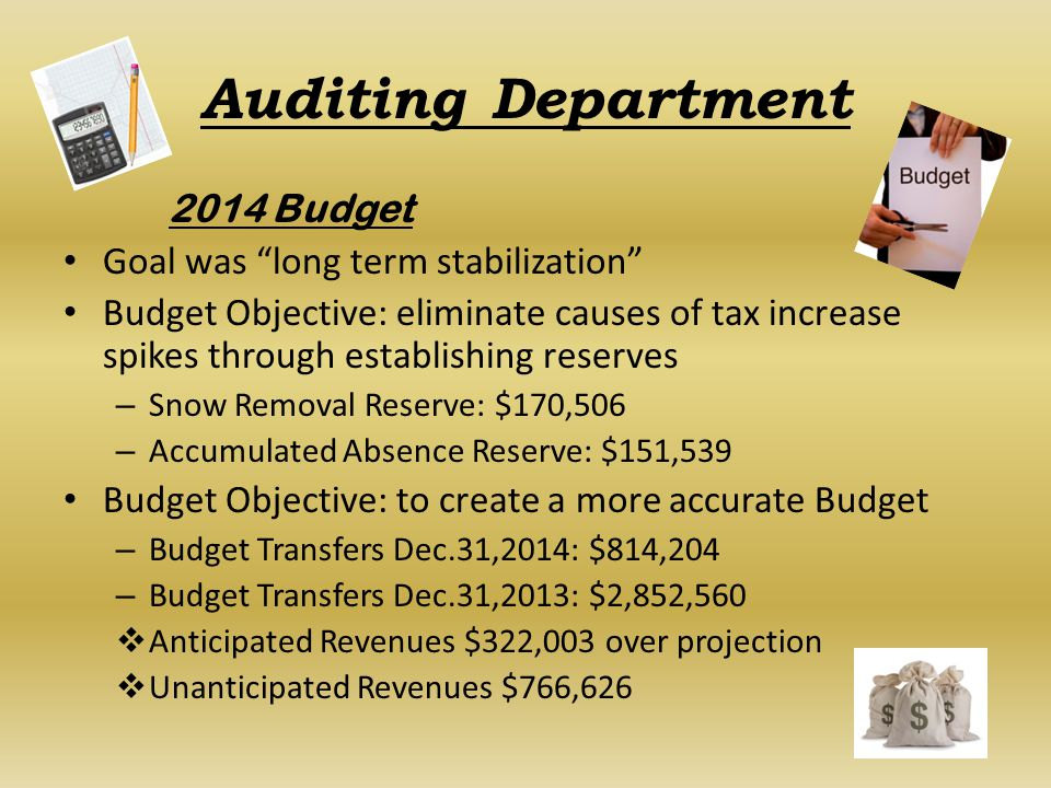Auditing Department 2014 Budget Goal was long term stabilization Budget Objective: eliminate causes of tax increase spikes through establishing reserves – Snow Removal Reserve: $170,506 – Accumulated Absence Reserve: $151,539 Budget Objective: to create a more accurate Budget – Budget Transfers Dec.31,2014:$814,204 – Budget Transfers Dec.31,2013:$2,852,560  Anticipated Revenues $322,003 over projection  Unanticipated Revenues $766,626