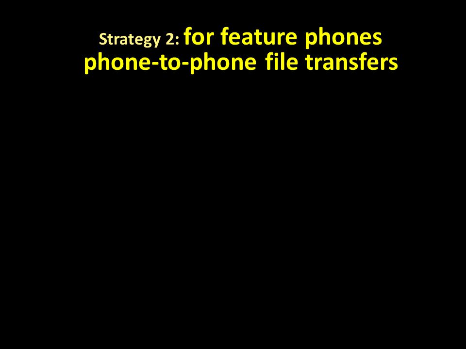 Strategy 2: for feature phones phone-to-phone file transfers